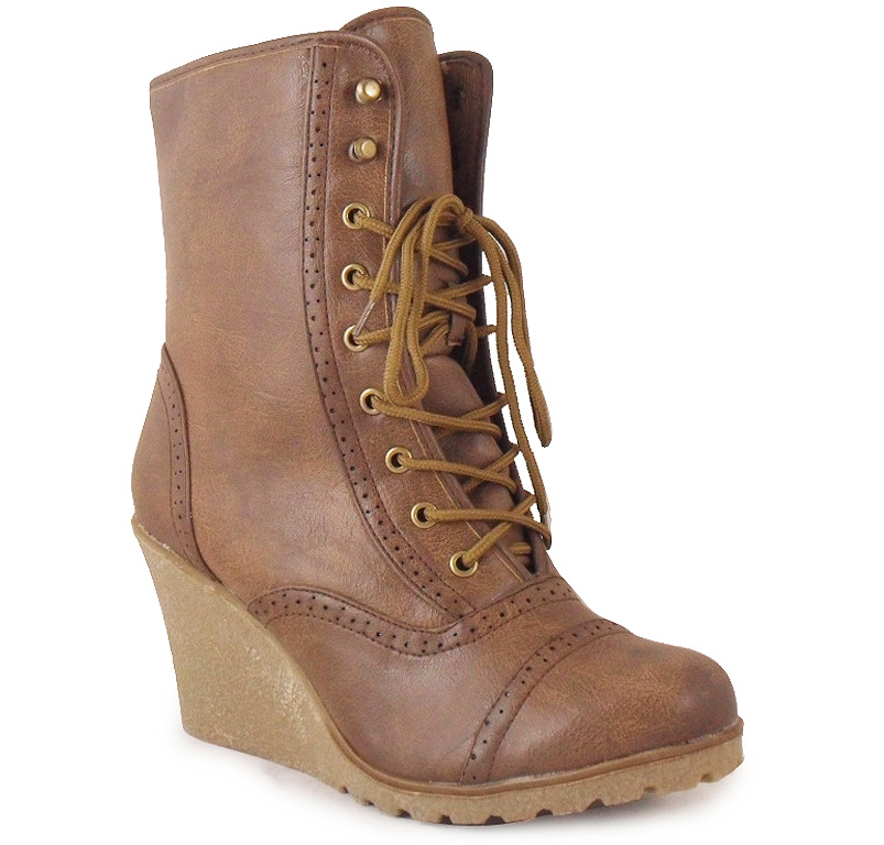 new womens brown wedge army combat