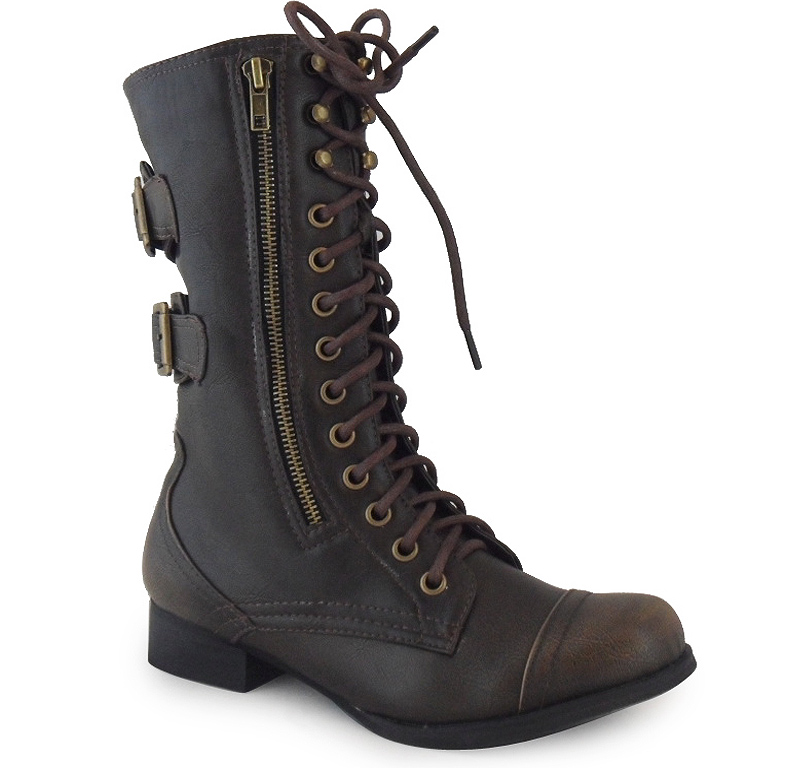 new womens brown army combat boots high