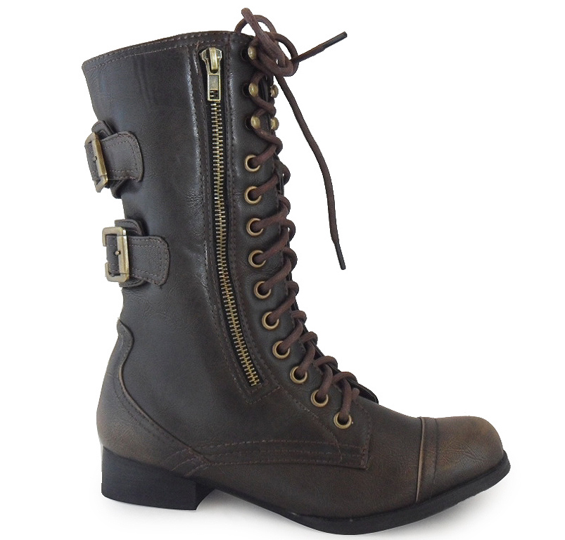 Simple NEW LADIES WOMENS BROWN ARMY COMBAT MILITARY BOOTS HIGH ANKLE SHOES SZ 3-8 | EBay